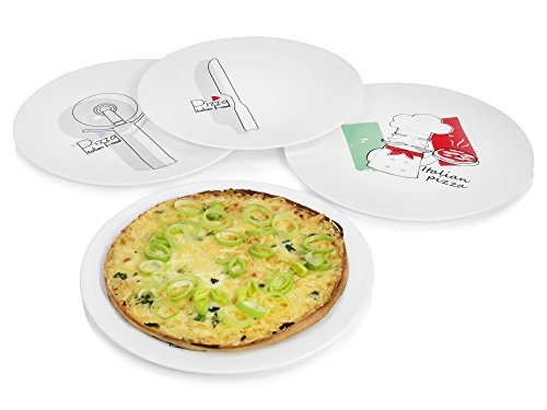 Bluespoon Pizzateller 'Cutter' aus Opalglas 4er Set | Durchmesser 33 cm | Opalglas ist 3 mal strapazierfähiger als herkömmliches Porzellan | 100% recyclebar | Unempfindlich gegen Hitze/Kälteschocks