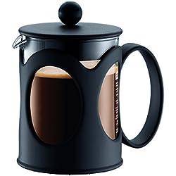 Bodum kenya Kaffeebereiter (French Press System, Permanent Edelstahl-Filter, 0,5 liters) schwarz