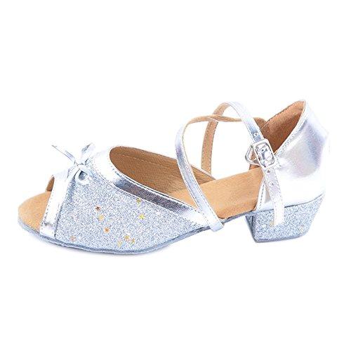 Ochenta ballroom da donna con glitter per caviglia con balza in rilievo argento tag 31 - eu 31.5