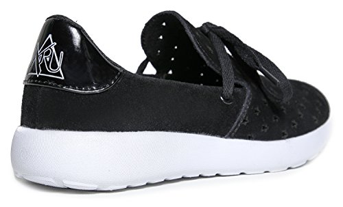 y.r.u. Damen Synthetik Beam Holografische Streifen Slip On Sneaker Black Stars