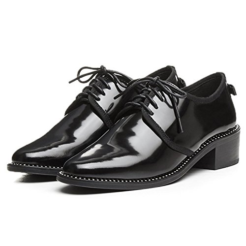 NobS Cuir Perles Lacer Pointe Toe D'Orsay Talons moyens Femmes Chaussures Chaussures de travail Black