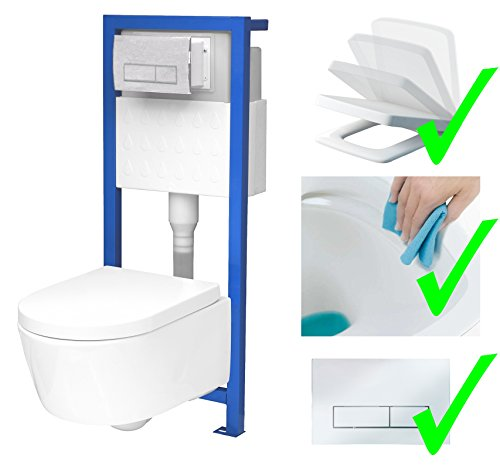 All-In-One-Set V2: Lavita Vorwandelement inkl. Drückerplatte chrom + Wand WC ohne Spülrand + WC-Sitz mit Soft-Close-Absenkautomatik