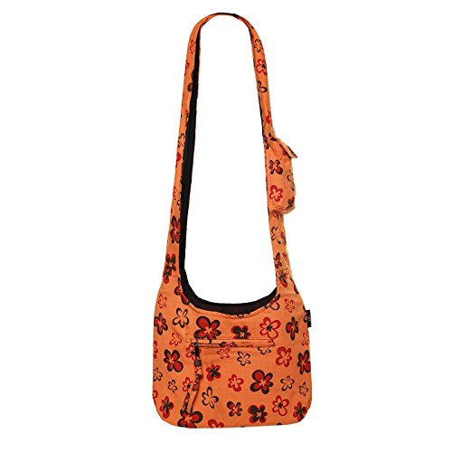Kunst und Magie Schulter-Umhänge-Tasche mit Blumen Design Orange