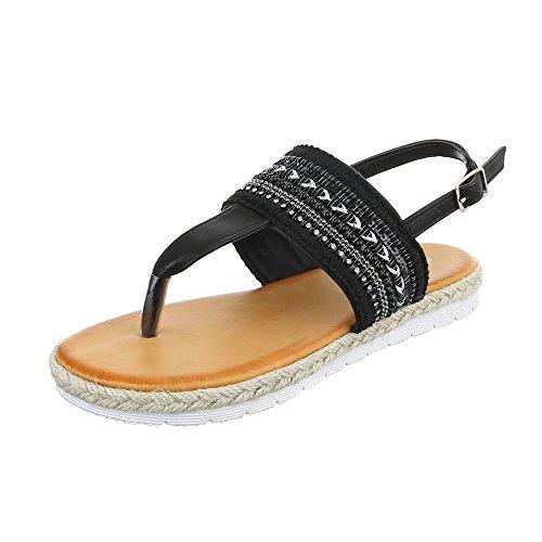 Zehentrenner Damenschuhe Peep-Toe Zehentrenner Schnalle Ital-Design Sandalen / Sandaletten Schwarz