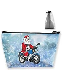 Papá Noel fresco que monta un bolso del artículo de tocador del viaje de la motocicleta