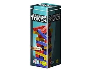 Editrice Giochi 6036101-Juegos Clásicos de Madera Jumbling Tower de Colores