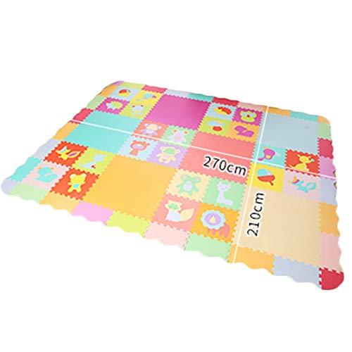 HLMIN Baby Krabbeln Matte Weicher EVA-Schaum Abspielen Mehrfarbenpuzzlematte Mit Zaun 2 Cm Ineinandergreifende Dicke Fliesen (größe : 6L+24s) - 24s Set