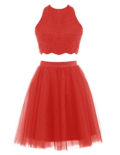 Dresstells Damen Kurz Zweiteilig Cocktailkleider Rückenfrei Tüll Partykleider Ballkleider 2016 Rot