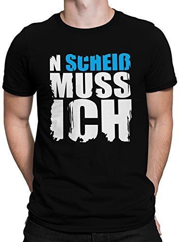 vanVerden Herren T-Shirt mit Spruch N Scheiß muss ich in 8 Farben, Farbe:Blau, Größe:XL