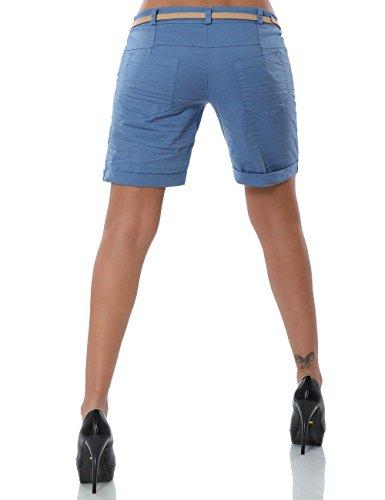 Damen Shorts Chino Kurze Hose inkl. Gürtel (weitere Farben) No 13908 Pastellblau