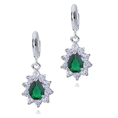 Orecchini a goccia, con cristalli austriaci di zirconia, color verde smeraldo, e placcatura in oro bianco 18ct