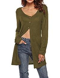 VJGOAL Mujeres Otoño Moda o-Cuello Manga Larga Color sólido Botón Top Casual High Slit Sexy Camiseta Cardigan Blusa Tops Abrigo