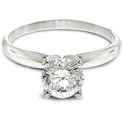 Anillo de compromiso de oro blanco con diamante