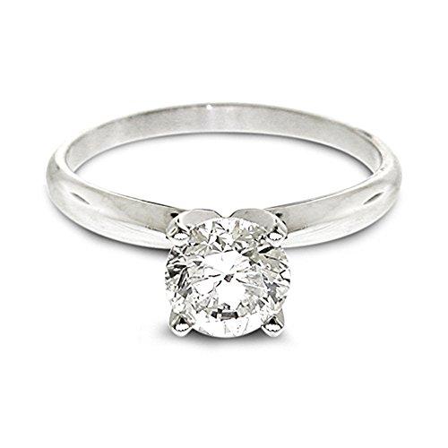Diamond Studs Forever - Anillo compromiso diamante solitario de 1/4 quilates GH/SI1-SI2 oro blanco 14K