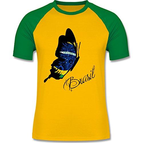 Länder - Brasil Schmetterling - zweifarbiges Baseballshirt für Männer Gelb/Grün