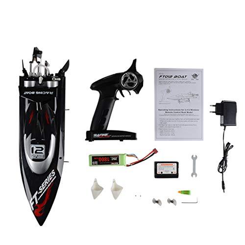Qiuxiaoaa Ferngesteuertes Wasser-Schnellboot, FeiLun FT012 Brushless RC-Rennboot, 2.4G 4CH Fernbedienung Schnellboot 45km / h Selbstaufrichtendes Antikollisions-RC-Spielzeug, (EU-Stecker)