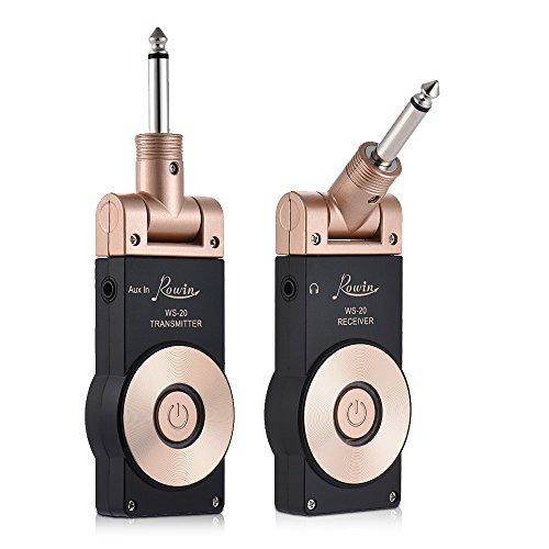 Muslady Set di Ricevitore Trasmettitore Ricaricabile Chitarra Elettrica Rowin WS-20 2.4G Wireless Gamma di Trasmissione da 30 Metri con Cavo di Ricarica USB