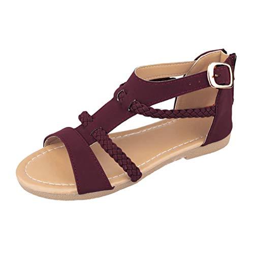 Sandalen Damen Sommer Flip Flops Sandaletten Bohemian Flach Zehentrenner Strandschuhe PU Leder Sandals mit Strass (EU:38, Lila) Casual Strass