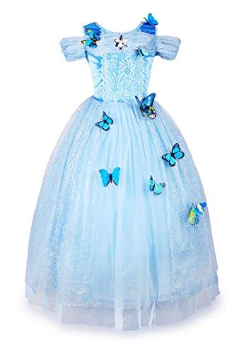 JerrisApparel Aschenputtel Kleid Prinzessin Kostüm Schmetterling Mädchen (140, Himmel Blau)