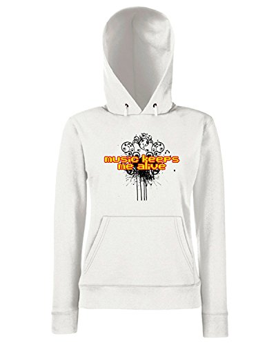 T-Shirtshock - Sweats a capuche Femme T0571 music keeps me alive fun cool geek Blanc