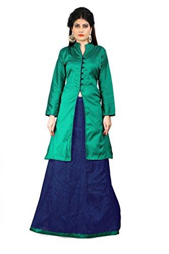 Laxminarayan Semi Stitched Designer Green & Blue Color Taffeta Silk Indo-Western Lehenga...