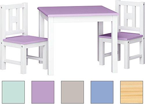 IB-Style - LUCA ensemble table et chaise pour enfants, Set: 1 x table + 2 x chaises - meubles enfants, chaise, mobilier pour enfants, table pour enfants | BLANC - GRIS ARGENTÉ