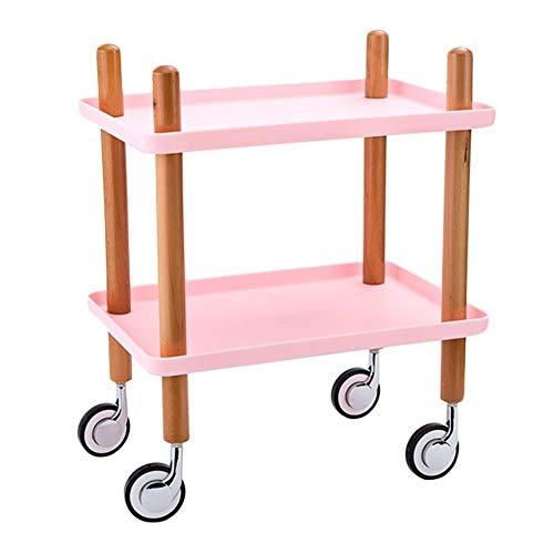 FQJYNLY Servierwagen Küchenwagen Universalrad Leicht Zu Bewegen Einfache Montage Massivholz Abnehmbar Lager Doppelte Ablage Essen, 3 Farben (Color : Pink, Size : 49x33.5x61cm)