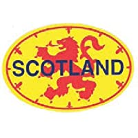 Scottish Lion Rampant Flag with Scotland Vinyl Oval Car Sticker Decal