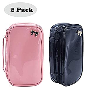 Small Cosmetic Bag Makeup Brush Organizer 2 Layer Makeup Pouch (E:Black and Pink)