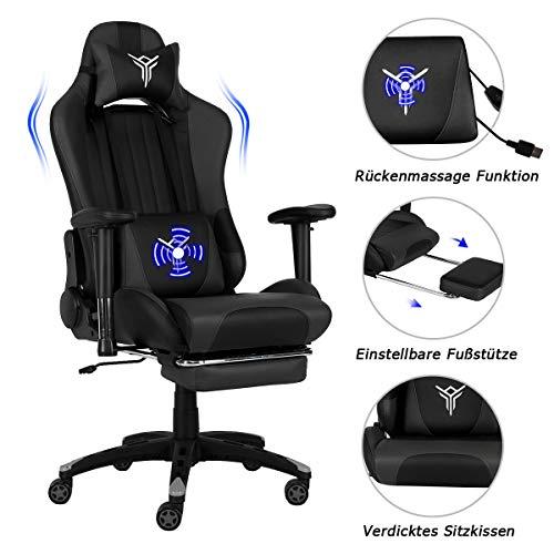 Massage Racing Gaming Stuhl Bürostuhl - Ergonomisches Sportsitz höhenverstellbarer Computerstuhl Chefsessel Schreibtischstuhl mit Kopfstützen, verstellbaren Armlehnen und Fußstützen (Massage-Grau)
