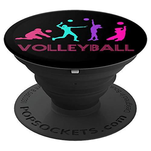 Volleyball Silhouette Retro Vintage Gifts Teen Girl Player - PopSockets Ausziehbarer Sockel und Griff für Smartphones und Tablets