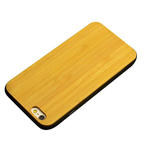 Holzhülle iPhone 6/ 6S 4,7 Zoll - Ultraslim Handyhülle Echtem Holz Schutz Hülle Schale mit PC Bumper Hart Cover Case Etui für Apple iPhone 6/ 6S Smartphone (Nussbaum) Goldbambus