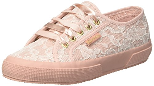 Superga 2750-SYNLEALACEW, Sneaker Donna, Pink Rose-White Lace, 37 EU