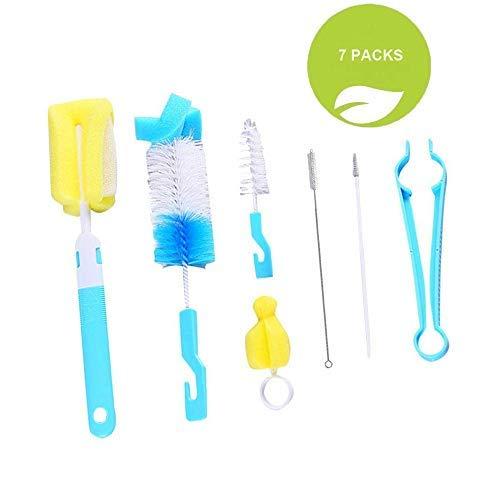 Flaschenbürste, 7 Stück Babyflaschenbürste, Reinigungsset für Plastikflaschen/Glasflaschen / Strohhalme