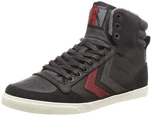 hummel SLIMMER STADIL OILED Unisex-Erwachsene Hohe Sneakers Schwarz (Black / Ribbon Red / Castle Rock 1065)