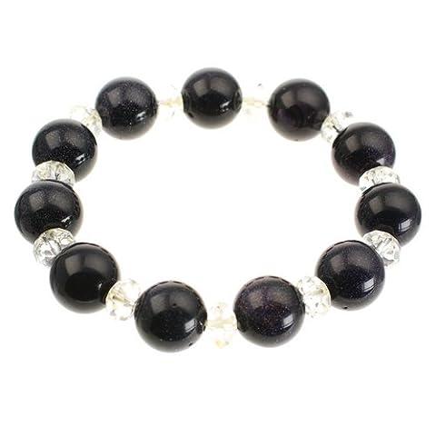 Blue Golstone Bracelet avec perles en cristal transparent de Style Stretch Perles Quartz-Coffret cadeau