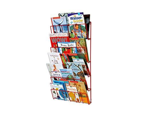 Bücherregal Metall, Hochformat, Höhe: 84 cm, Breite: 50 cm, Tiefe: 9 cm, Zeitungsständer, Zeitschriftenhalter, Bücherhalter, einfache Montage - Zeitungsregal Zeitschriftenständer Wartezimmer
