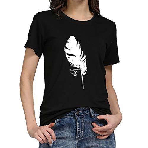 CixNy Damen T Shirts Damen T Shirt, CixNy Bluse Kurzarm Sommer Art Und Weise Lose Sleeved Blatt Druck Beiläufiger O Ansatz Oberteil Tops (Schwarz, X-Large)