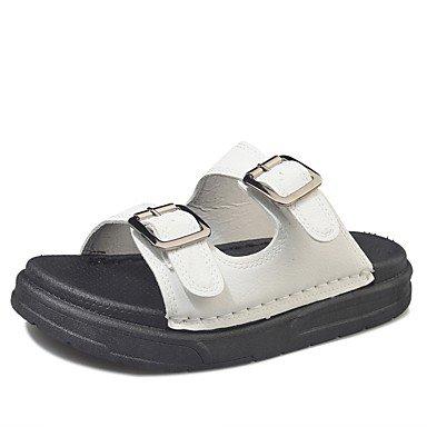 Rtry Femme Pantoufles Et Amp; Flip-flops Été Confort Pu Casual Chunky Heelblack Blanc Marche Us8 / Eu39 / Uk6 / Cn39