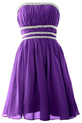 MACloth Women Strapless Chiffon Short Prom Dress Cocktail Party ...