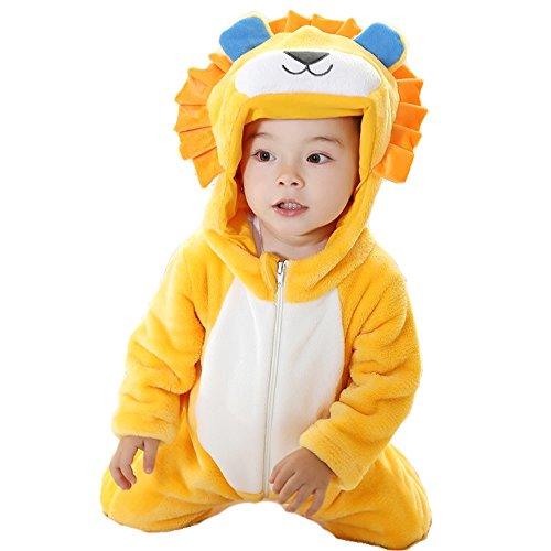 Niedlichen Lion Unisex Baby Winter Flanell Pyjamas Anzug Cosplay Kostüm Tierspielanzug Onesie Outwear Nachtwäsche Nachtwäsche Outfits (90) (Halloween Kostüme Für Babys 18 24 Monate Uk)