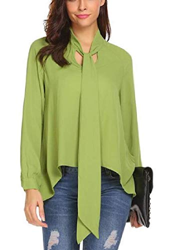 MU2M Women's Office Long Sleeve Chiffon Casual Tops Blouse Shirt with Bow Tie Army Green US L -