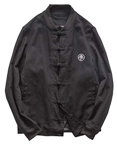 Herren Drucken Mantel Retro Chinesischen Stil Baumwoll-Leinen-Mischung Stehkragen Jacke Tang Anzug Schwarz S - Leinen-mischung-anzug-jacke