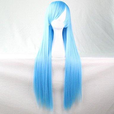 HJL-nouvelle cosplay anime bleu longue ligne droite de 80cm perruque de cheveux , blue