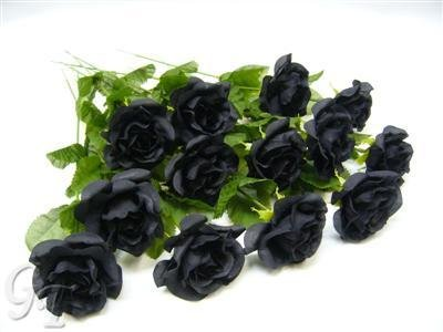 gt-decorations-12-artificial-silk-flower-37cm-black-rose-stems-from