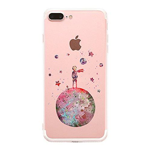 Cover iphone 8 plus/ iphone 7 plus silicone,caler custodia iphone 8 plus/ iphone 7 plus originale arancione trasparente animali disegni gel morbido marmo (piccolo principe)