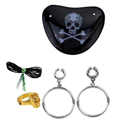 arty Piraten Ohrring Kreuz Knochen Schädel Auge Patch Ring Set Witz Spielzeug ()
