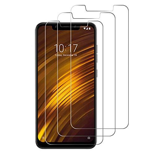 Cafwly 3 Unidades Protector de Pantalla para Xiaomi Pocophone F1,Cristal Templado para Xiaomi Pocophone F1 [Alta Definicion] [Arañazos Resistente][Fcil de Instalacin]
