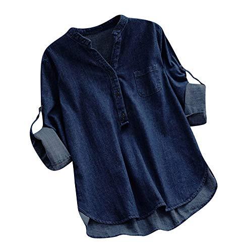 Damen Langarm Bluse, Frashing Langärmliges Jeanshemd V-Ausschnitt Shirt Langes Hemd Herbst-T-Shirt Langärmlige Lange Bluse in A-Form Casual Oberteil Lose Langarmshirt (Hemd V-neck 3/4 Sleeve)