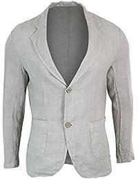 5729a52feff Mens Pure Linen Blazer Jacket 2 Button Slim Fit Smart Casual Summer Light